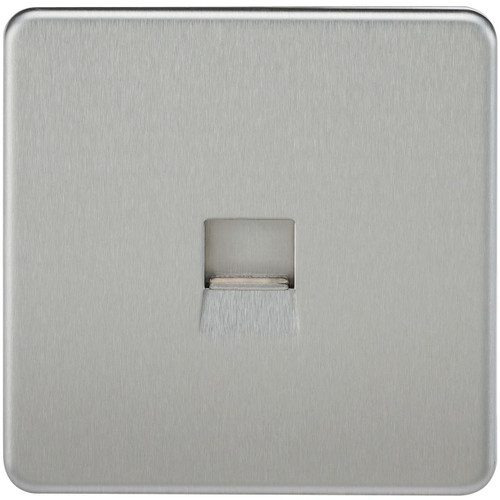 Screwless Telephone Extension Socket - Brushed Chrome (DFL1SF7400BC)