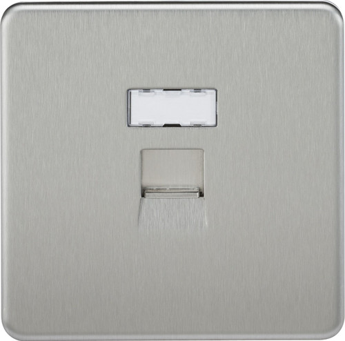 Screwless RJ45 Network Outlet - Brushed Chrome (DFL1SFRJ45BC)
