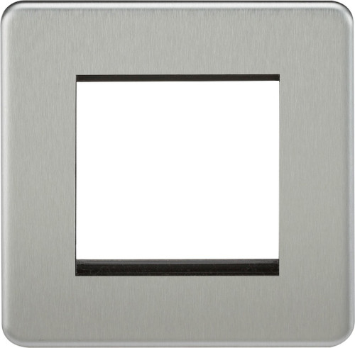 Screwless 2G modular faceplate - Brushed Chrome (DFL1SF2GBC)