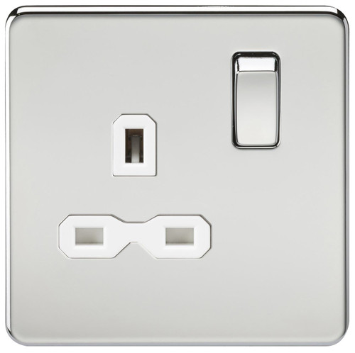 Screwless 13A 1G DP Switched Socket - Polished Chrome with White Insert (DFL1SFR7000PCW)