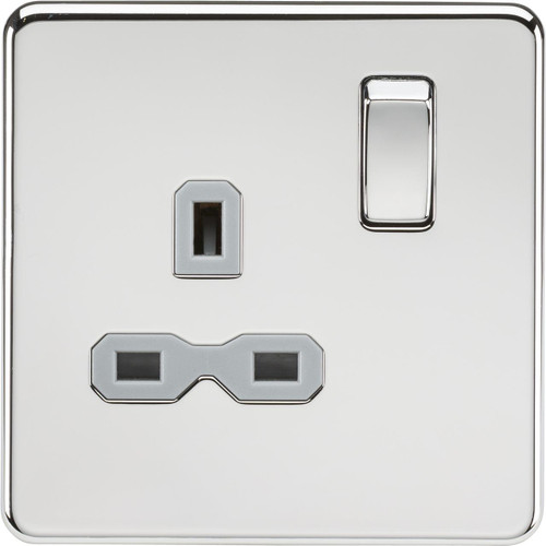 Screwless 13A 1G DP Switched Socket - Polished Chrome with Grey Insert (DFL1SFR7000PCG)
