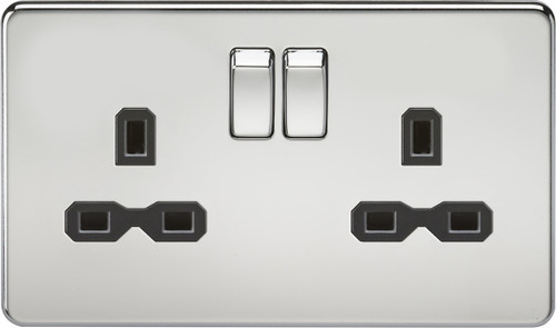 Screwless 13A 2G DP Switched Socket - Polished Chrome with Black Insert (DFL1SFR9000PC)