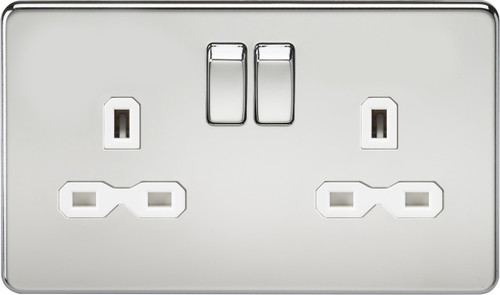 Screwless 13A 2G DP Switched Socket - Polished Chrome with White Insert (DFL1SFR9000PCW)