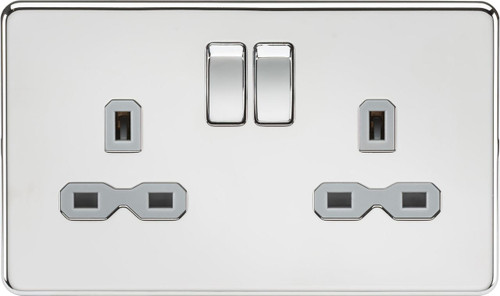 Screwless 13A 2G DP Switched Socket - Polished Chrome with Grey Insert (DFL1SFR9000PCG)