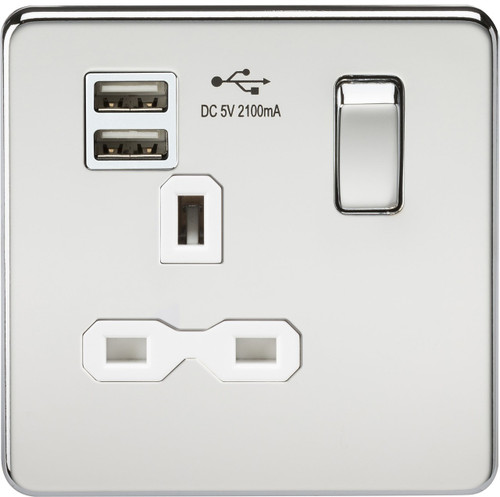 Screwless 13A 1G Switched Socket with Dual USB Charger - Polished Chrome with White Insert (DFL1SFR9901PCW)