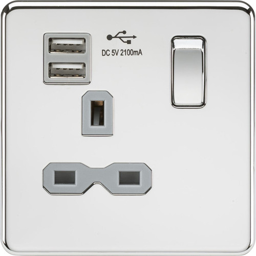 Screwless 13A 1G Switched Socket with Dual USB Charger - Polished Chrome with Grey Insert (DFL1SFR9901PCG)