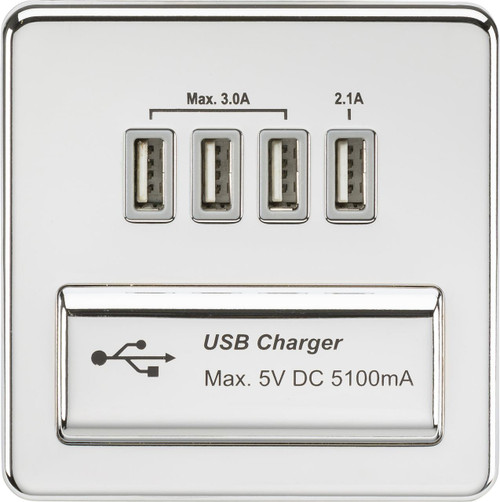 Screwless 1G Quad USB Charger Outlet 5V DC 5.1A - Polished Chrome with Grey Insert (DFL1SFQUADPCG)