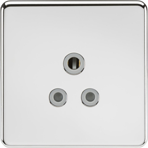 Screwless 5A Unswitched Socket - Polished Chrome with Grey Insert (DFL1SF5APCG)