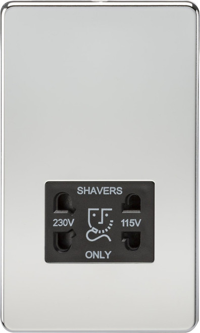 Screwless 115V/230V Dual Voltage Shaver Socket - Polished Chrome with Black Insert (DFL1SF8900PC)