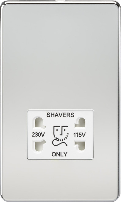 Screwless 115V/230V Dual Voltage Shaver Socket - Polished Chrome with White Insert (DFL1SF8900PCW)