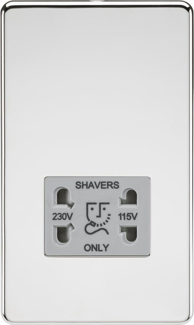 Screwless 115V/230V Dual Voltage Shaver Socket - Polished Chrome with Grey Insert (DFL1SF8900PCG)