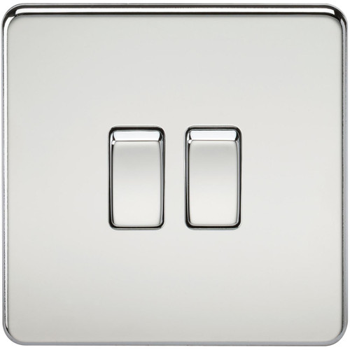 Screwless 10A 2G 2-Way Switch - Polished Chrome (DFL1SF3000PC)