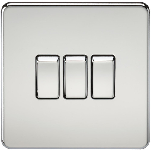 Screwless 10A 3G 2-Way Switch - Polished Chrome (DFL1SF4000PC)