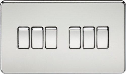 Screwless 10A 6G 2-Way Switch - Polished Chrome (DFL1SF4200PC)