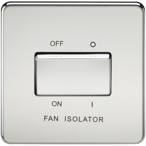 Screwless 10A 3 Pole Fan Isolator Switch - Polished Chrome (DFL1SF1100PC)