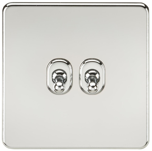 Screwless 10A 2G 2-Way Toggle Switch - Polished Chrome (DFL1SF2TOGPC)