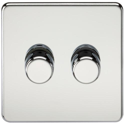 Screwless 2G 2-Way 10-200W (5-150W LED) Dimmer Switch - Polished Chrome (DFL1SF2182PC)