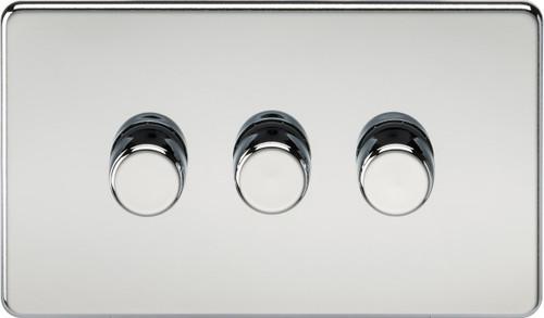 Screwless 3G 2-Way 10-200W (5-150W LED) Dimmer Switch - Polished Chrome (DFL1SF2183PC)