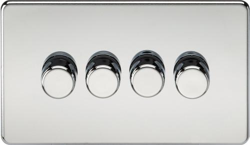 Screwless 4G 2-Way 10-200W (5-150W LED) Dimmer Switch - Polished Chrome (DFL1SF2184PC)