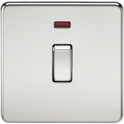 Screwless 20A 1G DP Switch with Neon - Polished Chrome (DFL1SF8341NPC)