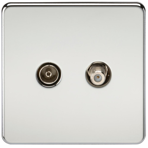 Screwless TV & SAT TV Outlet (Isolated) - Polished Chrome (DFL1SF0140PC)
