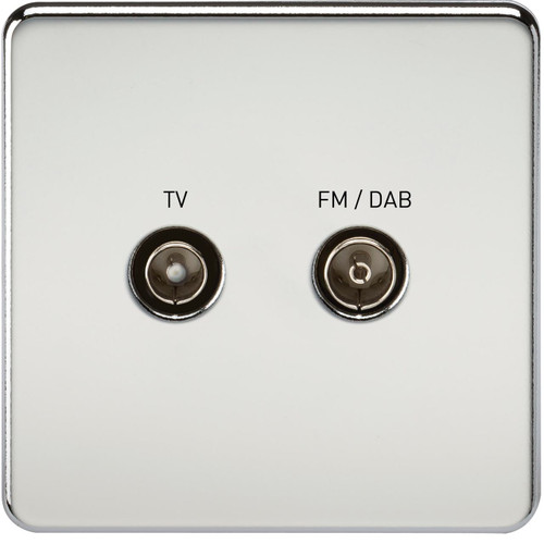 Screwless Screened Diplex Outlet (TV & FM DAB) - Polished Chrome (DFL1SF0160PC)
