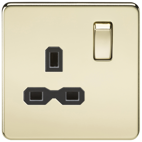 Screwless 13A 1G DP Switched Socket - Polished Brass with Black Insert (DFL1SFR7000PB)