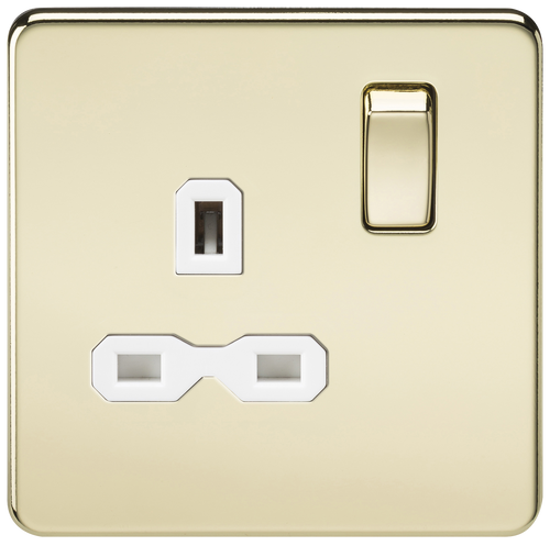 Screwless 13A 1G DP Switched Socket - Polished Brass with White Insert (DFL1SFR7000PBW)