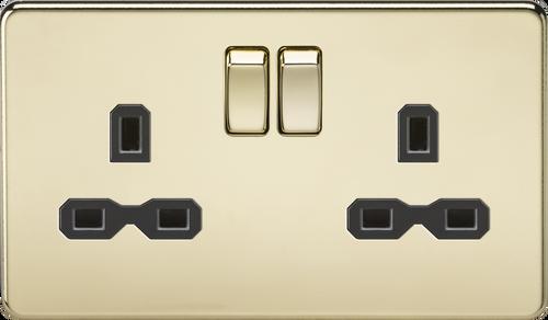 Screwless 13A 2G DP Switched Socket - Polished Brass with Black Insert (DFL1SFR9000PB)