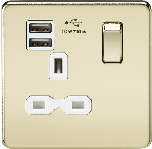 Screwless 13A 1G Switched Socket with Dual USB Charger - Polished Brass with White Insert (DFL1SFR9901PBW)