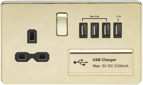 Screwless 13A 1G Switched Socket with Quad USB Charger 5V DC 5.1A - Polished Brass with Black Insert (DFL1SFR7USB4PB)