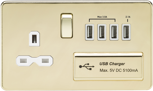 Screwless 13A 1G Switched Socket with Quad USB Charger 5V DC 5.1A - Polished Brass with White Insert (DFL1SFR7USB4PBW)