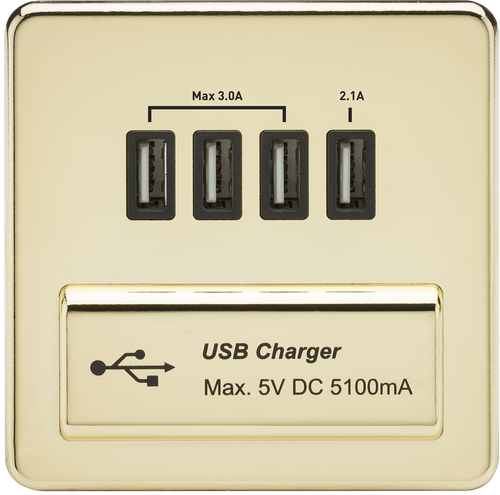 Screwless 1G Quad USB Charger Outlet 5V DC 5.1A - Polished Brass with Black Insert (DFL1SFQUADPB)