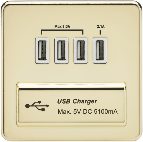 Screwless 1G Quad USB Charger Outlet 5V DC 5.1A - Polished Brass with White Insert (DFL1SFQUADPBW)