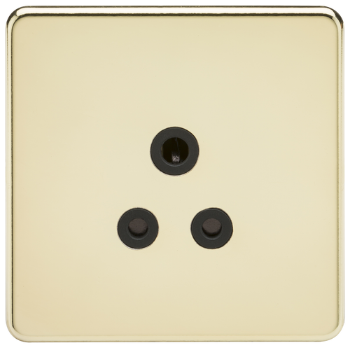 Screwless 5A Unswitched Socket - Polished Brass with Black Insert (DFL1SF5APB)