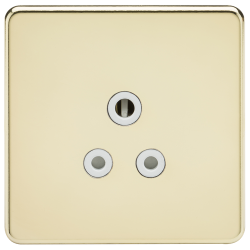 Screwless 5A Unswitched Socket - Polished Brass with White Insert (DFL1SF5APBW)