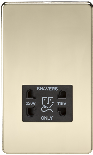 Screwless 115V/230V Dual Voltage Shaver Socket - Polished Brass with Black Insert (DFL1SF8900PB)