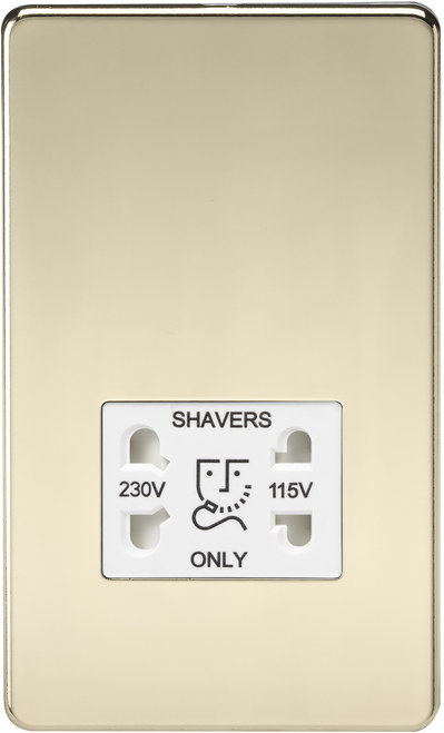 Screwless 115V/230V Dual Voltage Shaver Socket - Polished Brass with White Insert (DFL1SF8900PBW)