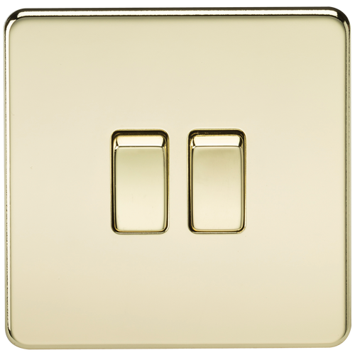 Screwless 10A 2G 2-Way Switch - Polished Brass (DFL1SF3000PB)