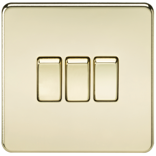 Screwless 10A 3G 2-Way Switch - Polished Brass (DFL1SF4000PB)