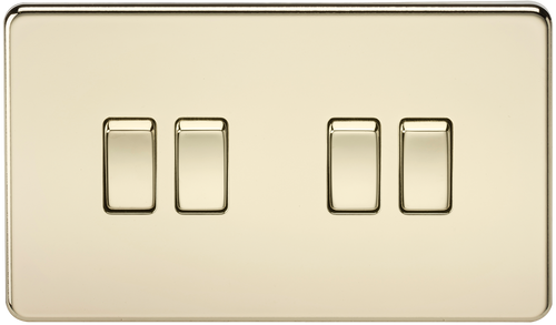 Screwless 10A 4G 2-Way Switch - Polished Brass (DFL1SF4100PB)