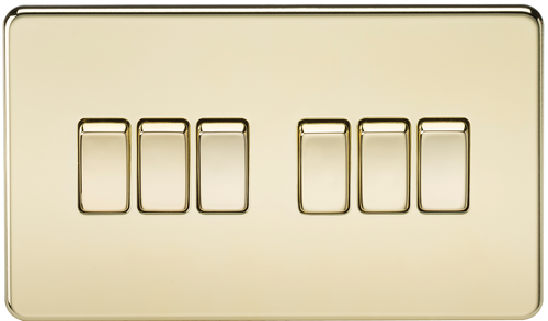 Screwless 10A 6G 2-Way Switch - Polished Brass (DFL1SF4200PB)