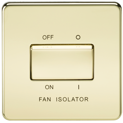 Screwless 10A 3 Pole Fan Isolator Switch - Polished Brass (DFL1SF1100PB)