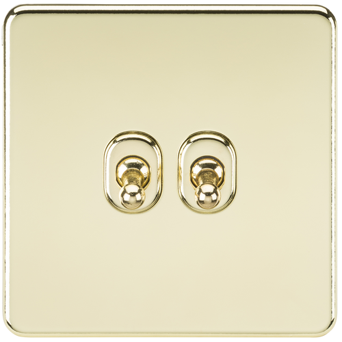 Screwless 10A 2G 2-Way Toggle Switch - Polished Brass (DFL1SF2TOGPB)