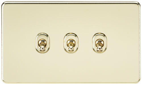 Screwless 10A 3G 2-Way Toggle Switch - Polished Brass (DFL1SF3TOGPB)