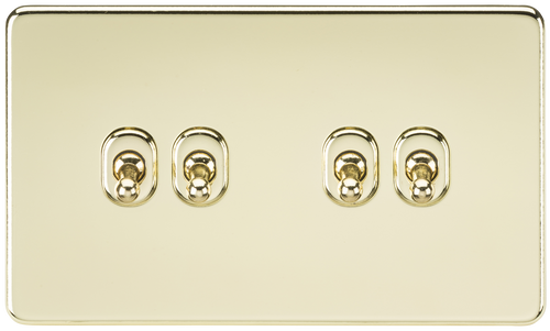 Screwless 10A 4G 2-Way Toggle Switch - Polished Brass (DFL1SF4TOGPB)