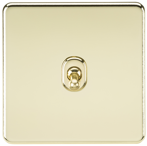 Screwless 10A 1G Intermediate Toggle Switch - Polished Brass (DFL1SF12TOGPB)