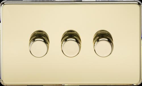 Screwless 3G 2-Way 60-400W Dimmer Switch - Polished Brass (DFL1SF2163PB)