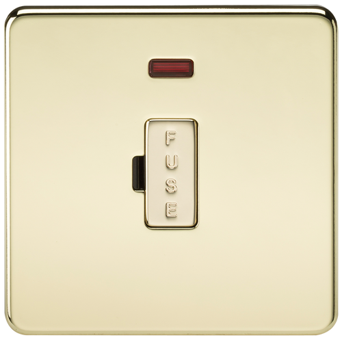 Screwless 13A Fused Spur Unit with Neon - Polished Brass (DFL1SF6000NPB)