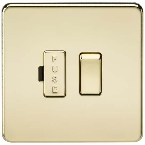 Screwless 13A Switched Fused Spur Unit - Polished Brass (DFL1SF6300PB)